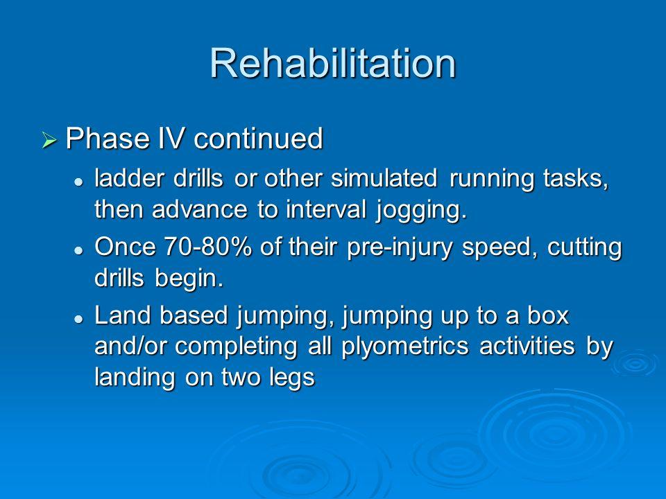 Rehabilitation Phase IV continued