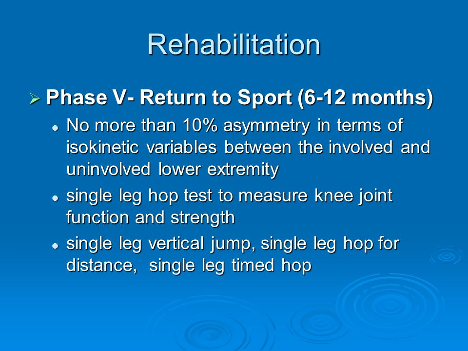 Rehabilitation Phase V- Return to Sport (6-12 months)