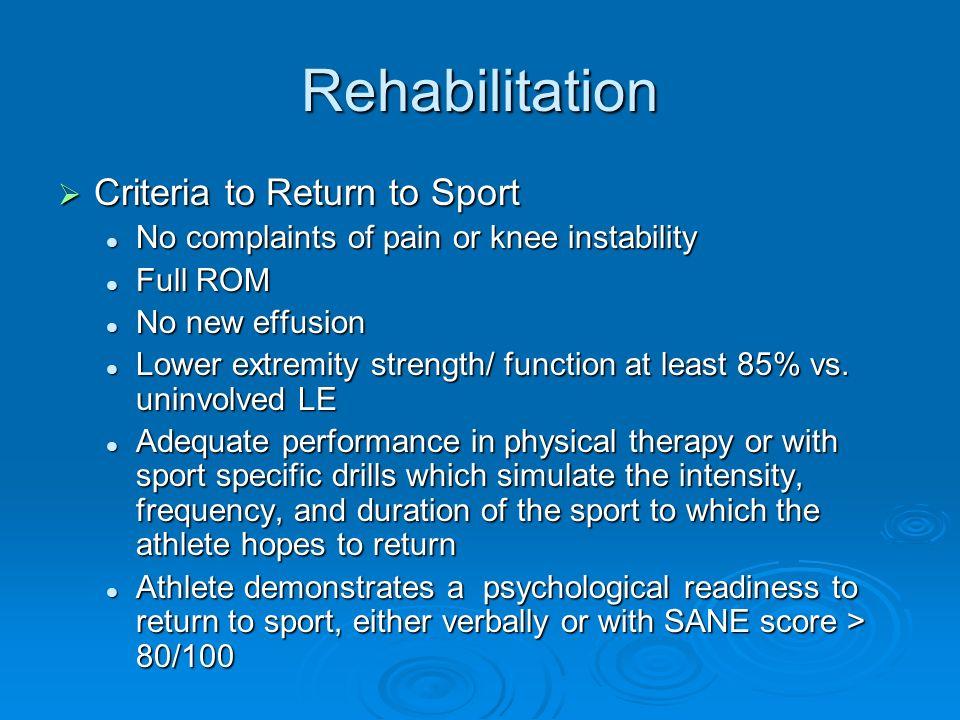 Rehabilitation Criteria to Return to Sport