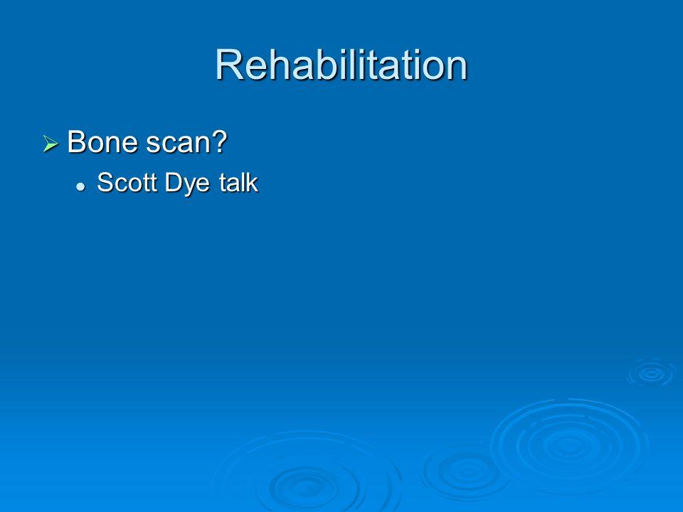 Rehabilitation Bone scan Scott Dye talk