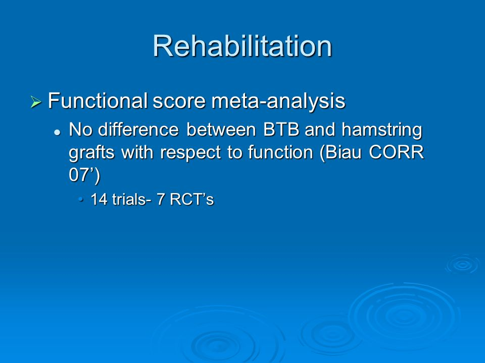 Rehabilitation Functional score meta-analysis