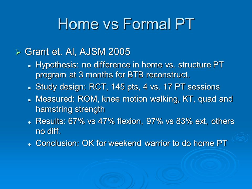 Home vs Formal PT Grant et. Al, AJSM 2005
