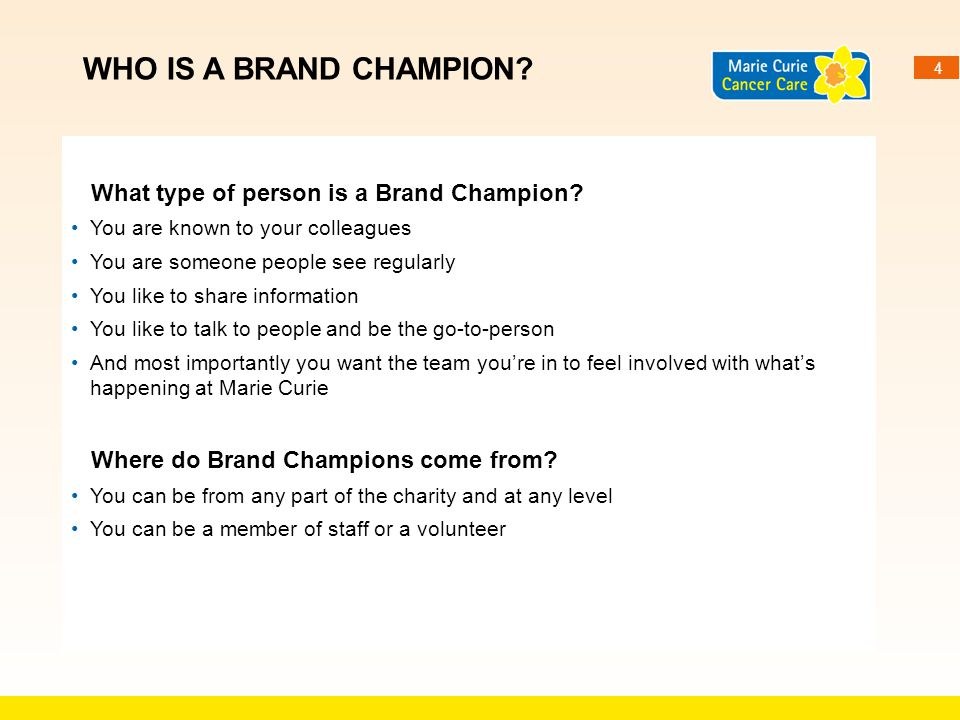 Who is a Brand Champion What type of person is a Brand Champion