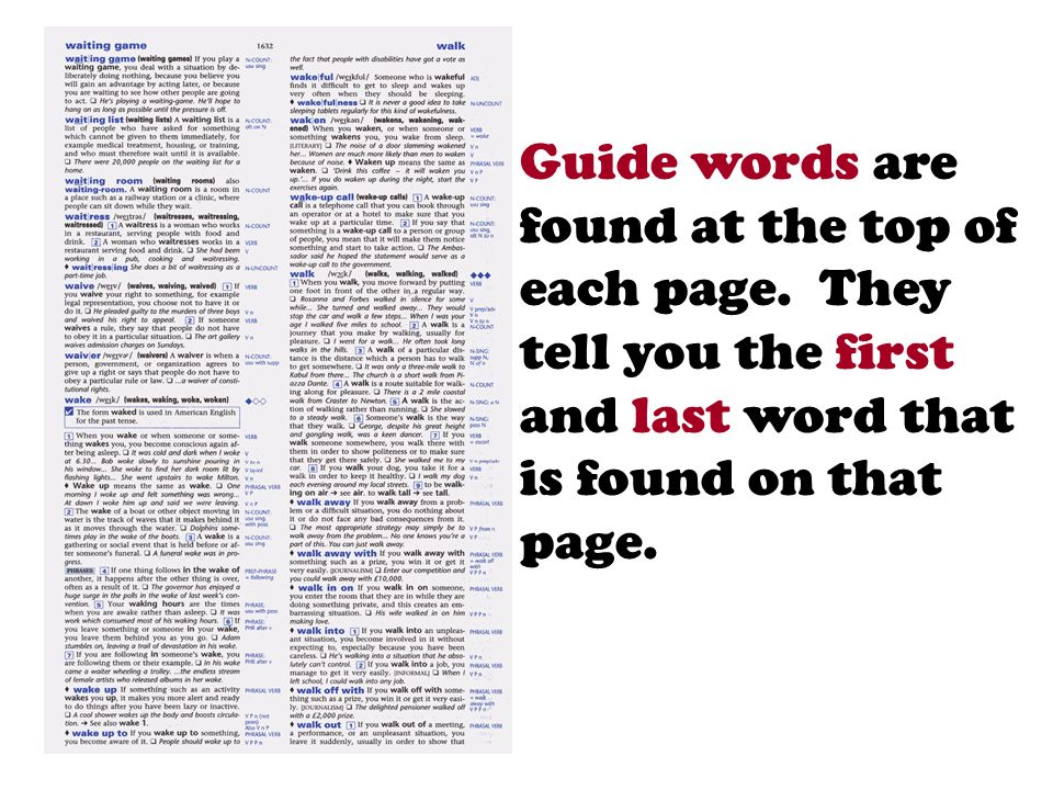 Guide words are found at the top of each page