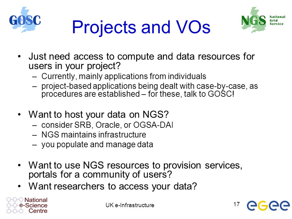 Projects and VOs Just need access to compute and data resources for users in your project Currently, mainly applications from individuals.