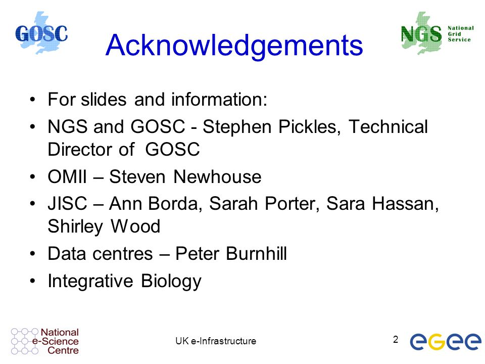 Acknowledgements For slides and information: