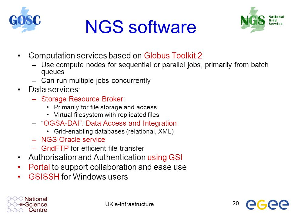 NGS software Computation services based on Globus Toolkit 2