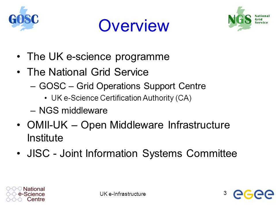 Overview The UK e-science programme The National Grid Service