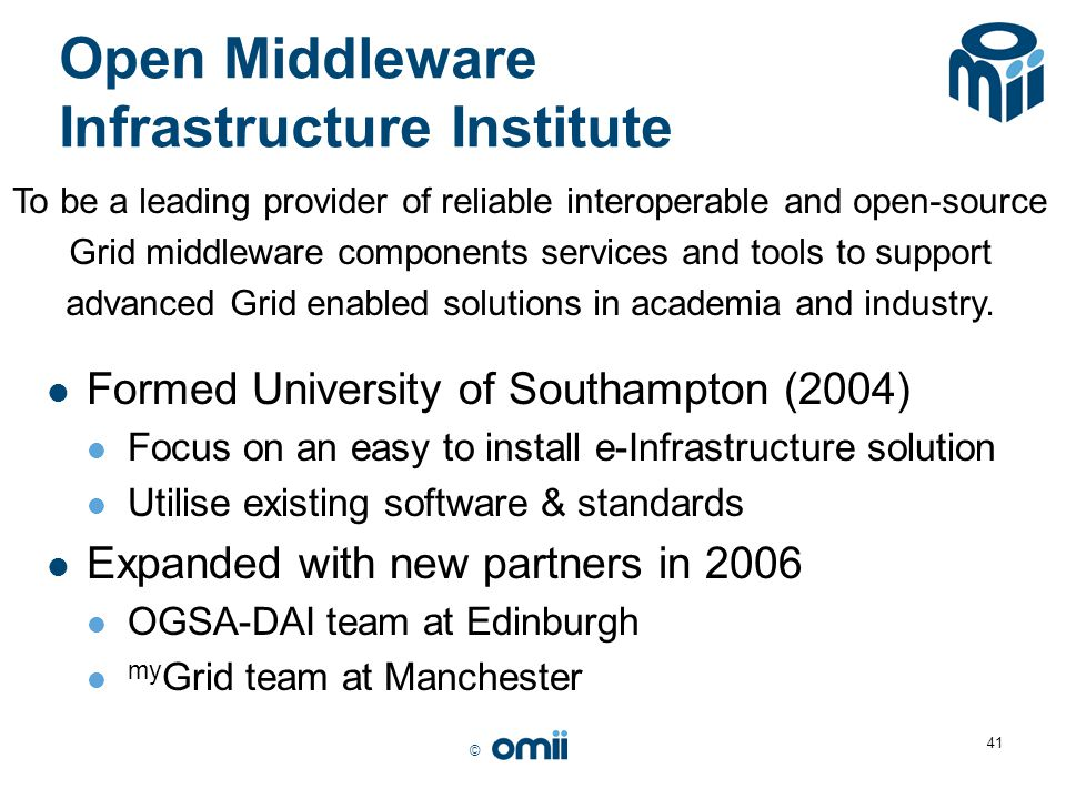 Open Middleware Infrastructure Institute
