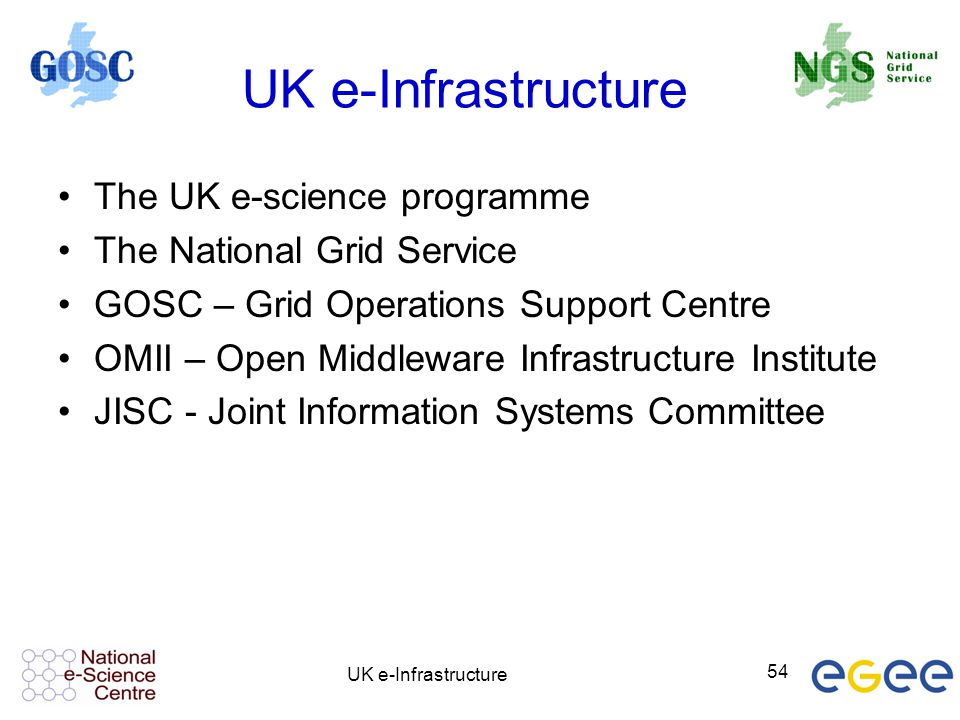 UK e-Infrastructure The UK e-science programme