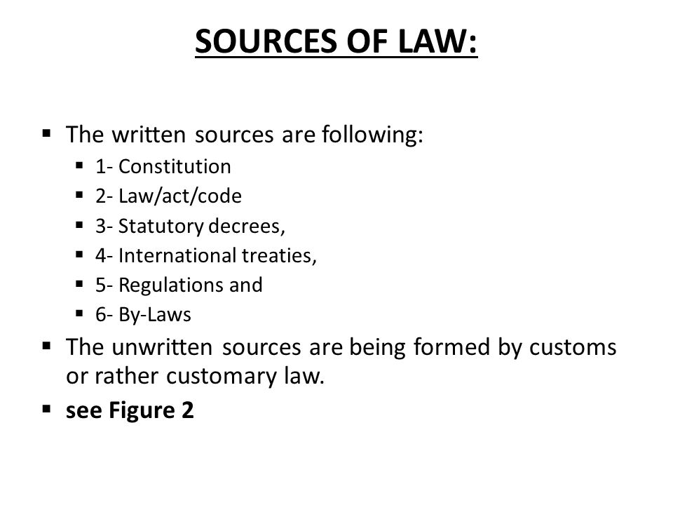 SOURCES OF LAW: The written sources are following: