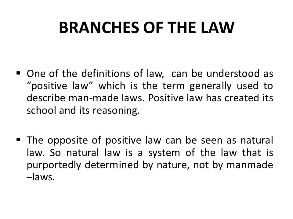 BRANCHES OF THE LAW