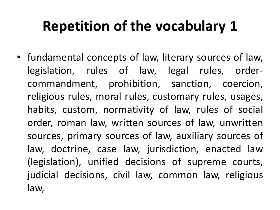Repetition of the vocabulary 1