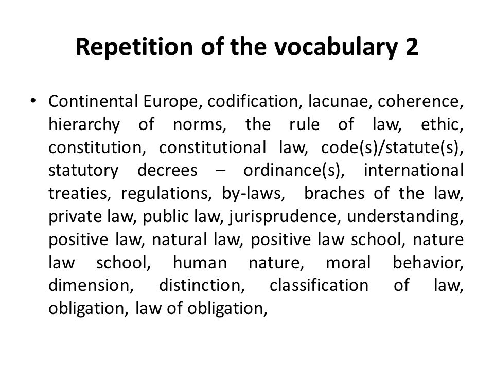 Repetition of the vocabulary 2