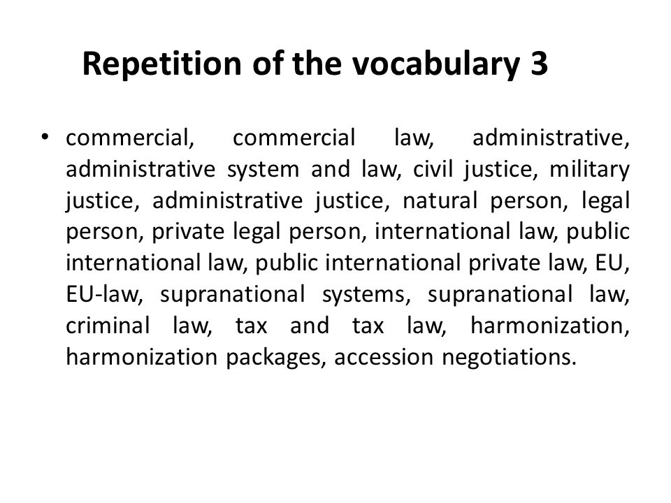 Repetition of the vocabulary 3