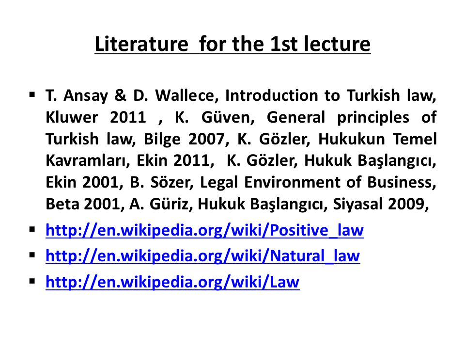 Literature for the 1st lecture