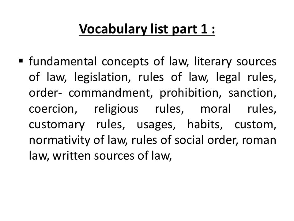 Vocabulary list part 1 :