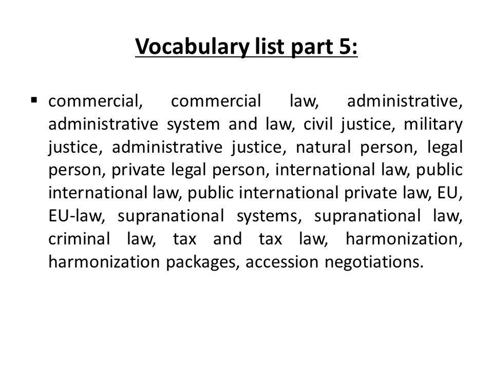 Vocabulary list part 5: