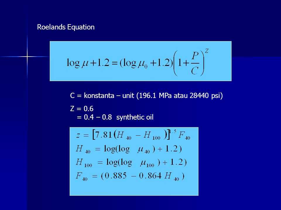 Roelands Equation C = konstanta – unit (196.1 MPa atau 28440 psi) Z = 0.6.