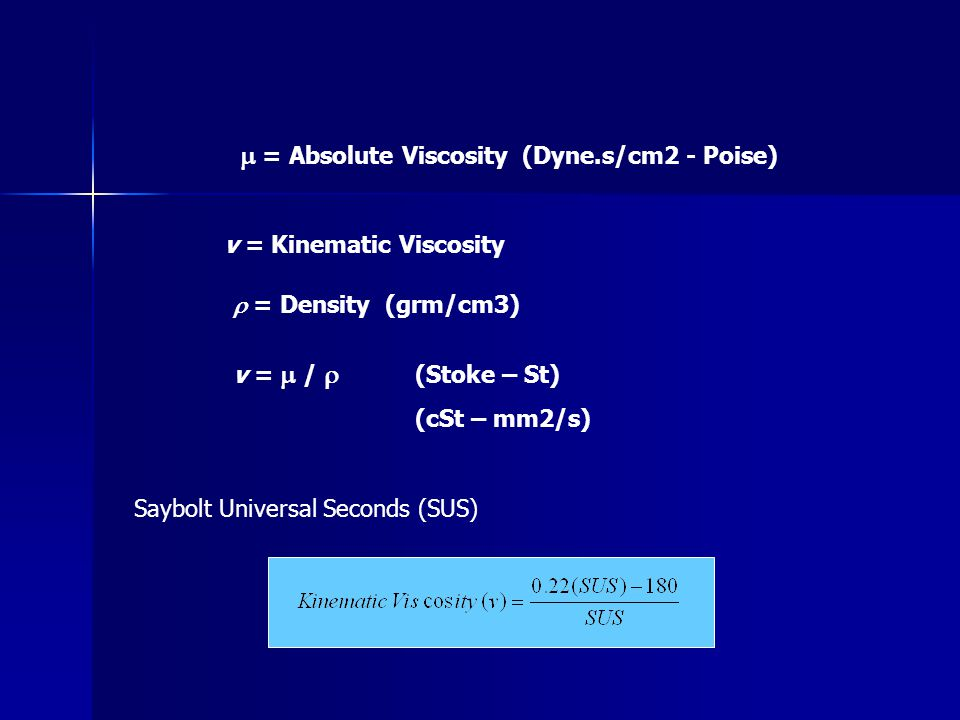 m = Absolute Viscosity (Dyne.s/cm2 - Poise)