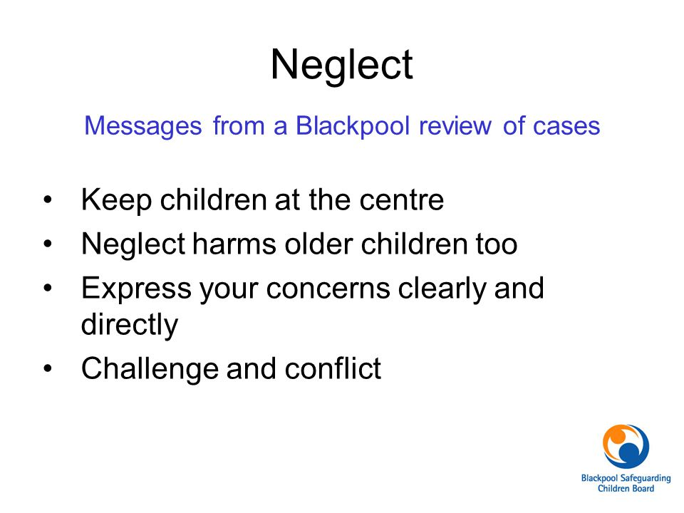 Messages from a Blackpool review of cases