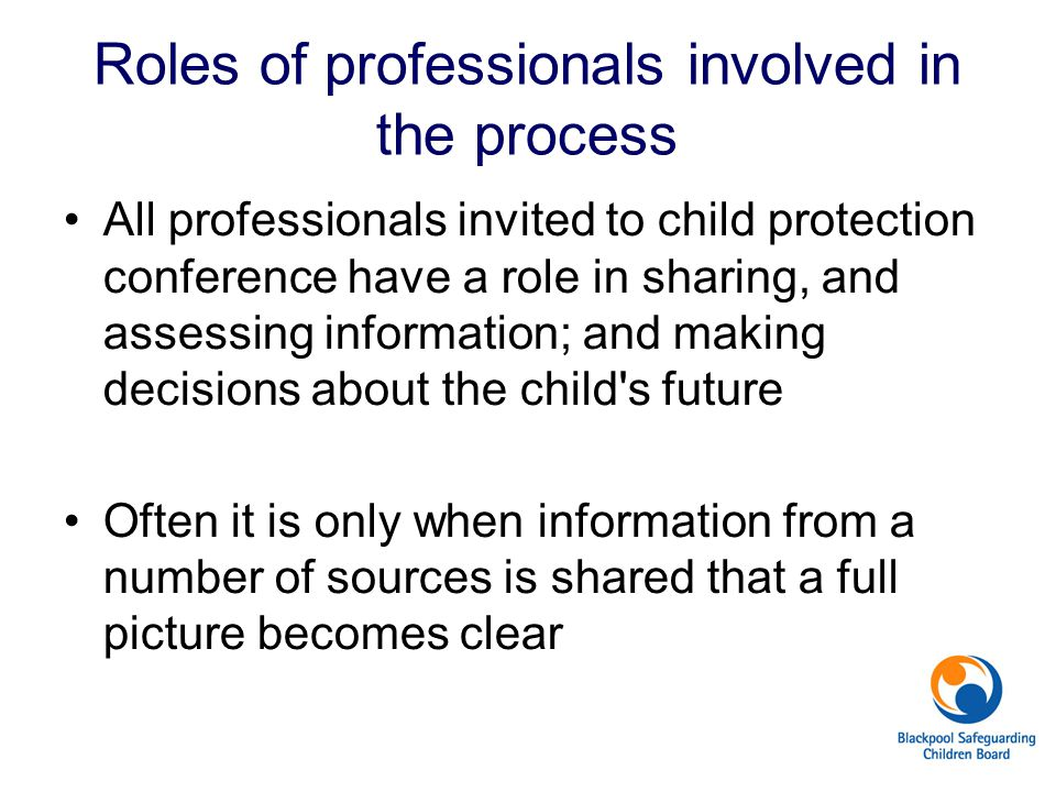 Roles of professionals involved in the process