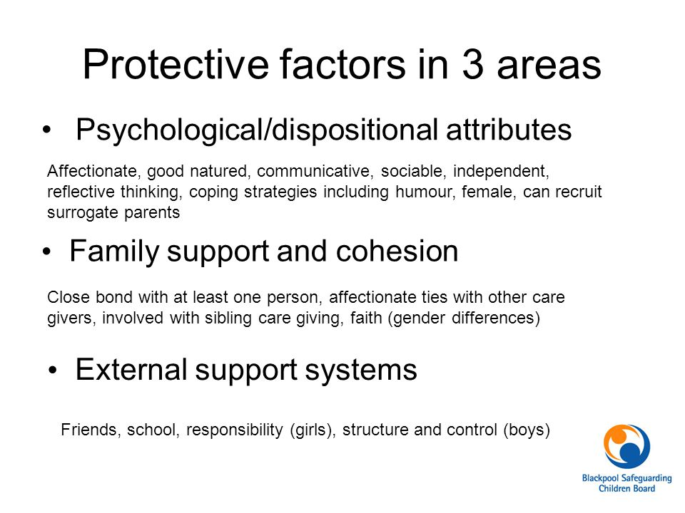 Protective factors in 3 areas