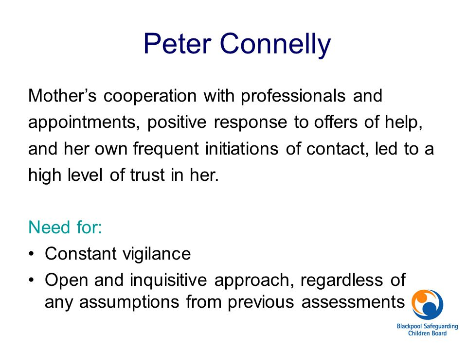 Peter Connelly Mother's cooperation with professionals and