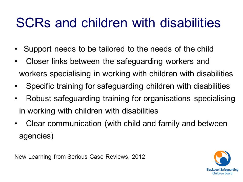 SCRs and children with disabilities