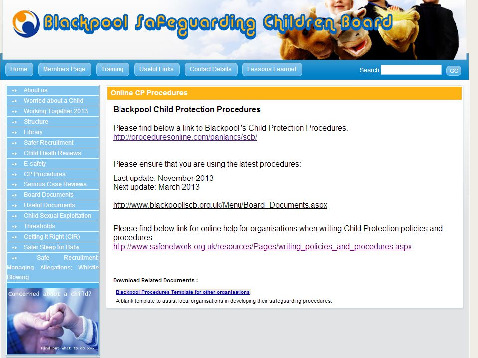 BSCB website Policy and procedure www.blackoollscb.org.uk