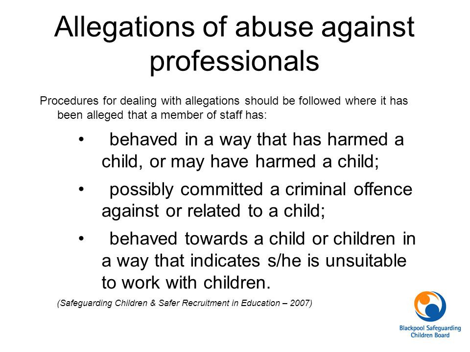 Allegations of abuse against professionals