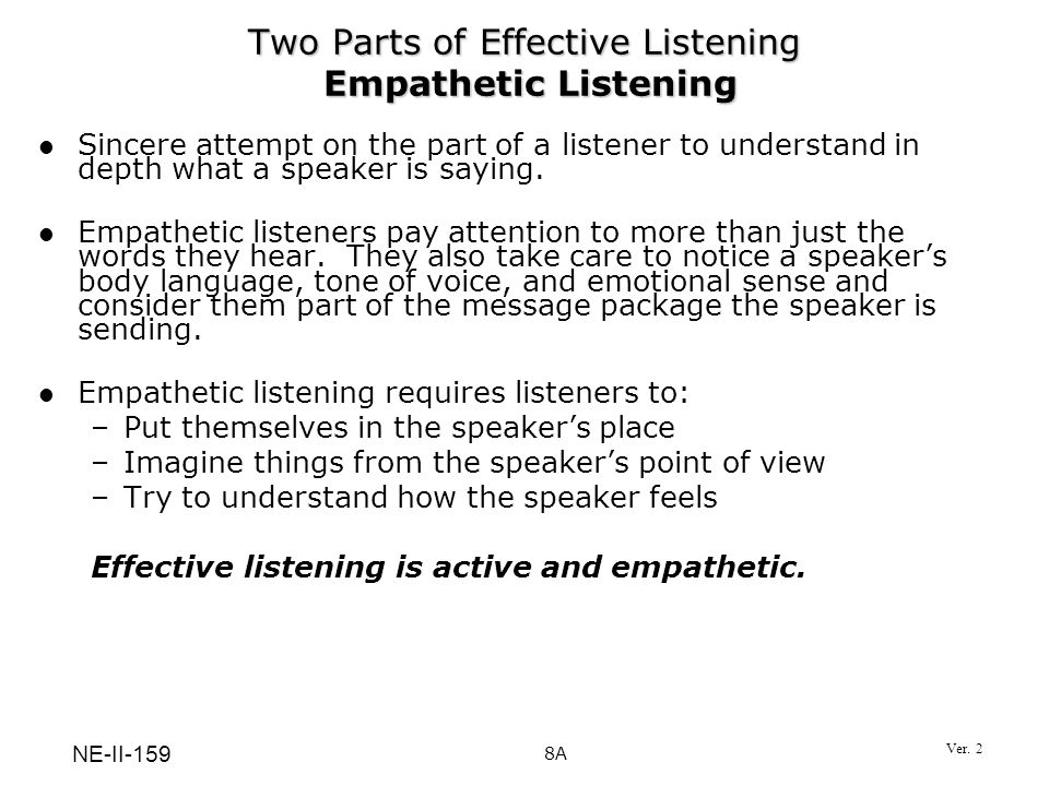 Two Parts of Effective Listening Empathetic Listening