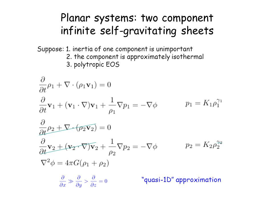 Planar systems: two component infinite self-gravitating sheets
