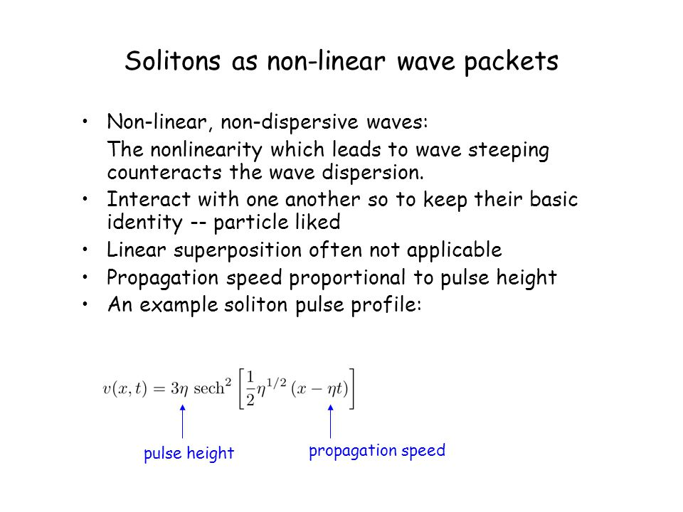 Solitons as non-linear wave packets