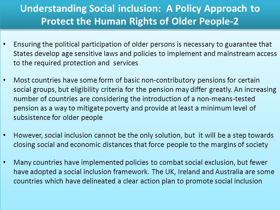 Understanding Social inclusion: A Policy Approach to Protect the Human Rights of Older People-2
