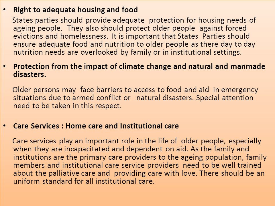 Right to adequate housing and food