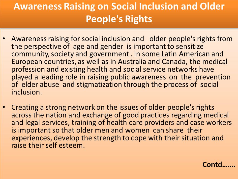 Awareness Raising on Social Inclusion and Older People s Rights