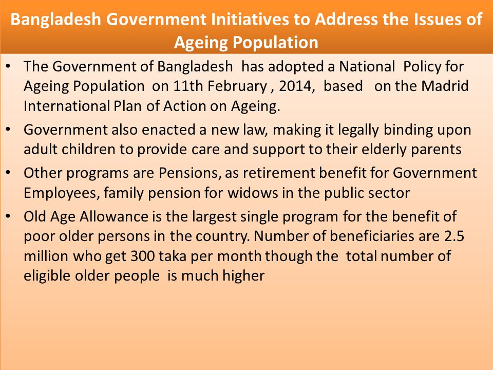 Bangladesh Government Initiatives to Address the Issues of Ageing Population