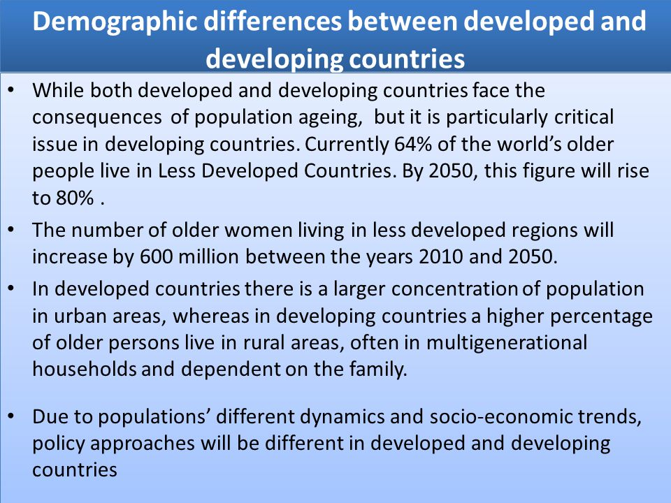 Demographic differences between developed and developing countries