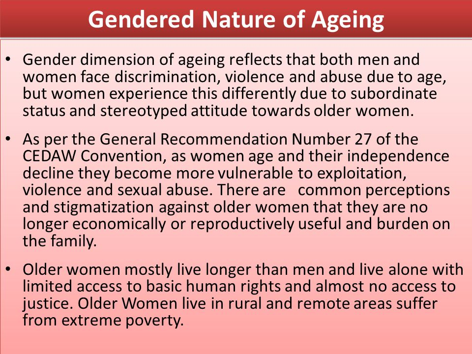 Gendered Nature of Ageing