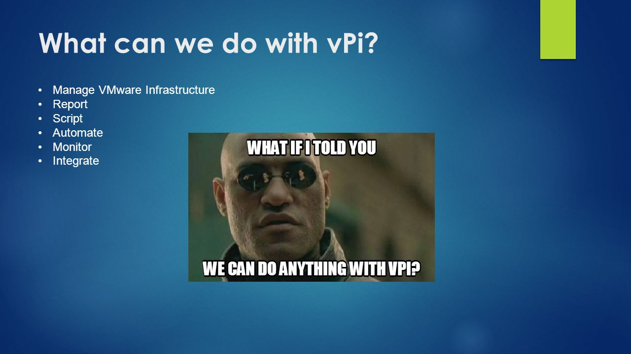 What can we do with vPi Manage VMware Infrastructure Report Script