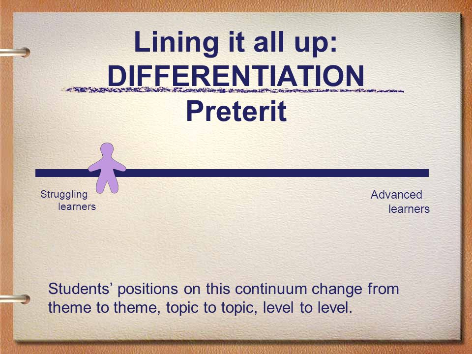 Lining it all up: DIFFERENTIATION Preterit