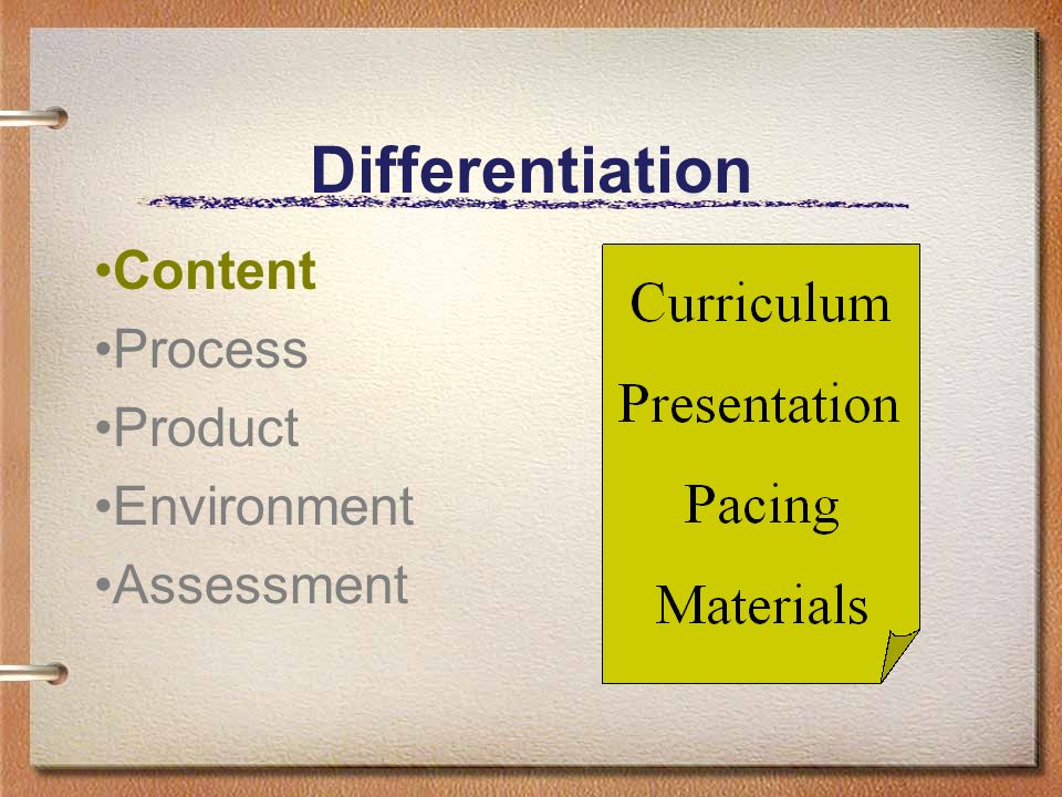 Differentiation Content Process Product Environment Assessment