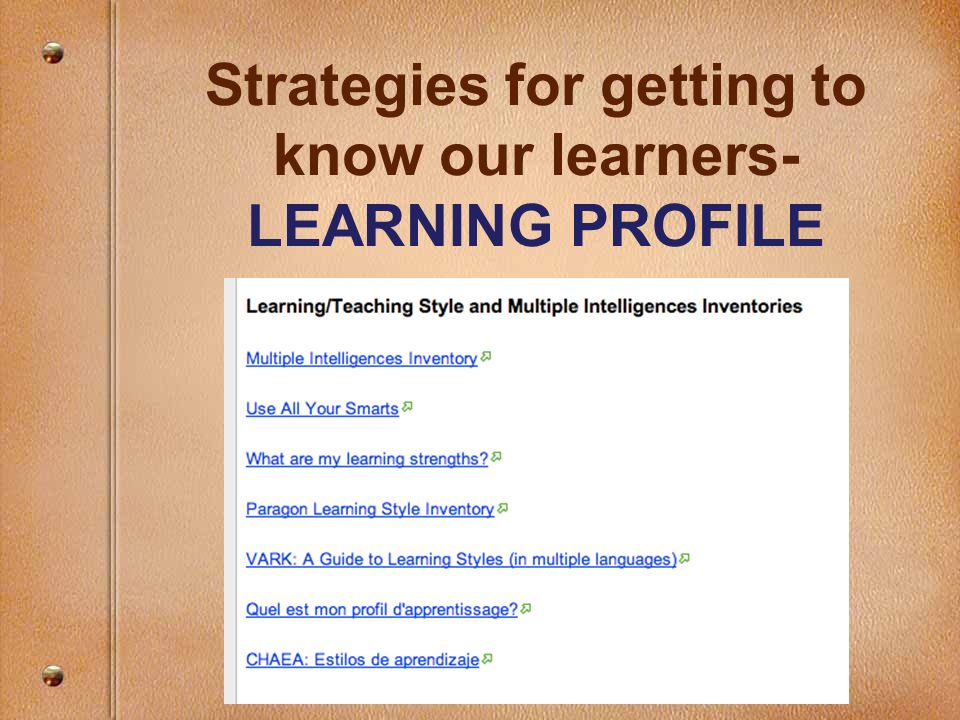 Strategies for getting to know our learners- LEARNING PROFILE