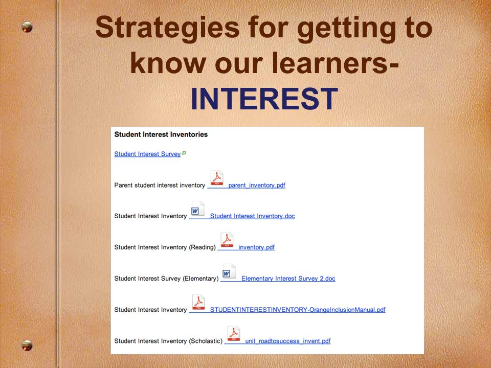 Strategies for getting to know our learners- INTEREST