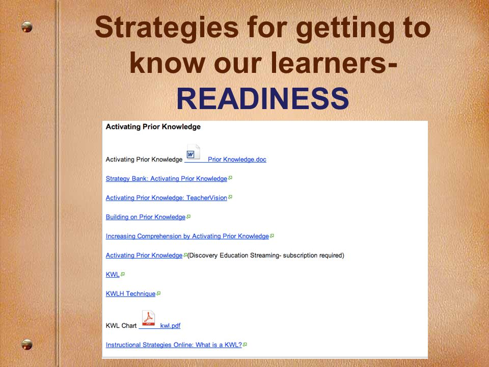 Strategies for getting to know our learners- READINESS