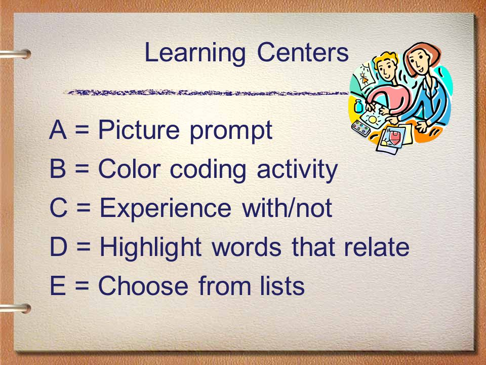 Learning Centers A = Picture prompt. B = Color coding activity. C = Experience with/not. D = Highlight words that relate.