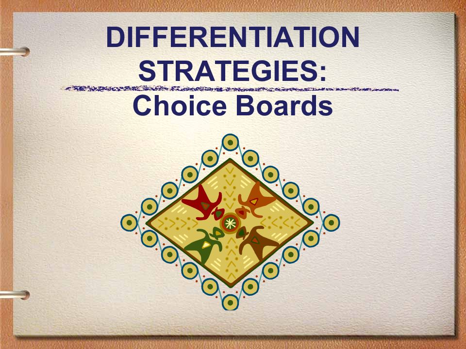 DIFFERENTIATION STRATEGIES: Choice Boards