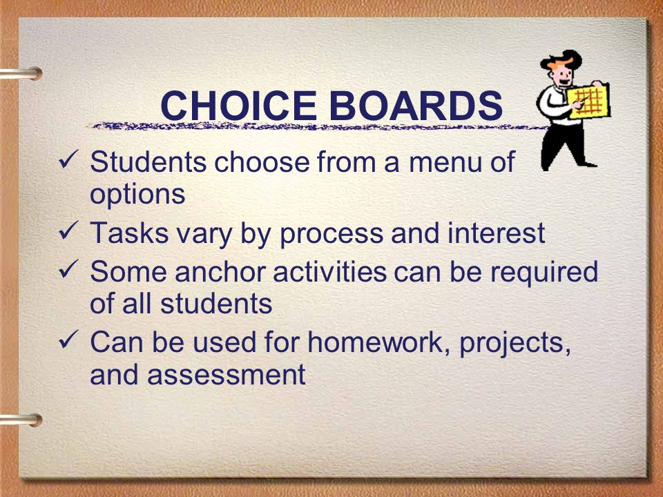 CHOICE BOARDS Students choose from a menu of options