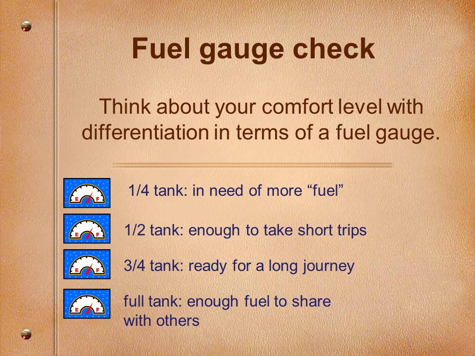Fuel gauge check Think about your comfort level with differentiation in terms of a fuel gauge. 1/4 tank: in need of more fuel